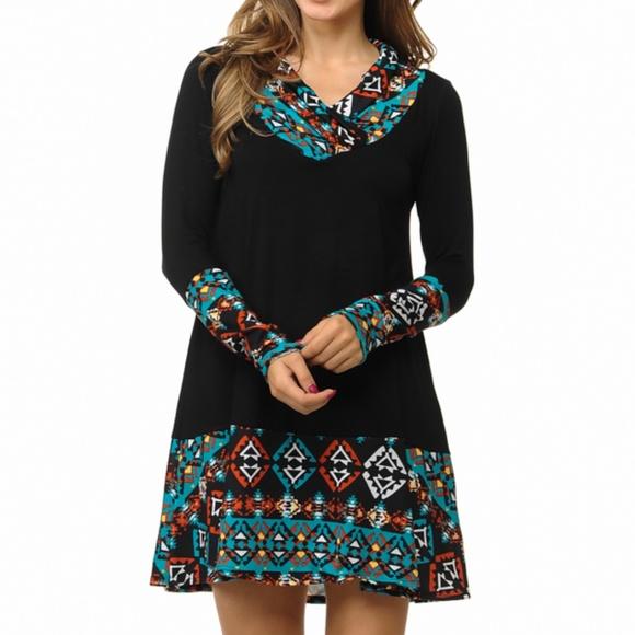 76c6f690bb67 Black Long Sleeve Loose V-Neck Mini Dress. Boutique. Magic Fit